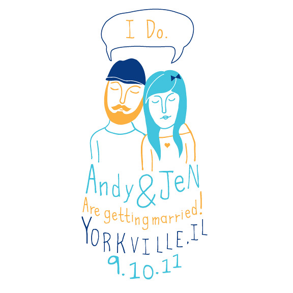 Save the date cards for wedding Custom hand drawn illustrations then taken