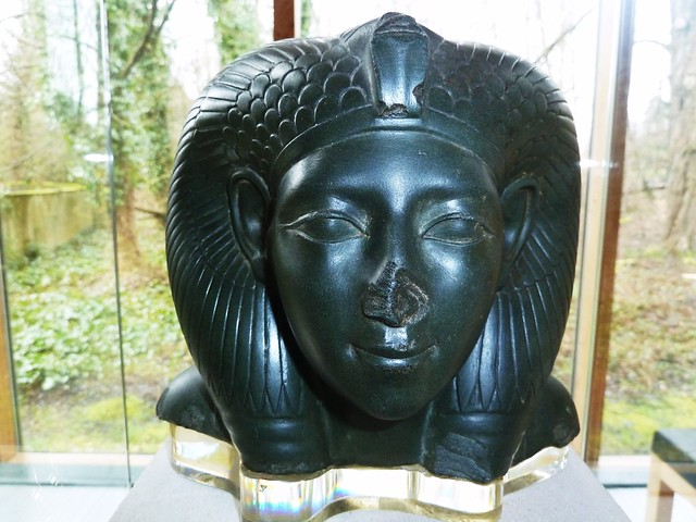 Basalt head of Egyptian Queen, Late period.