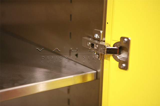 Closeup Of Adjustable Door Hinges On Designer Series