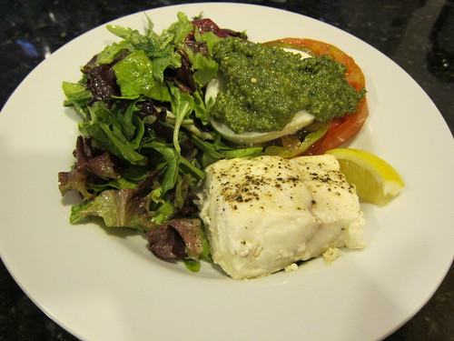 halibut, pesto, heirloom, tomato, salad, organic IMG_5423