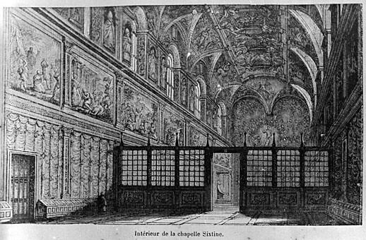 estampe repr sentant l 39 int rieur de la chapelle sixtine v. Black Bedroom Furniture Sets. Home Design Ideas