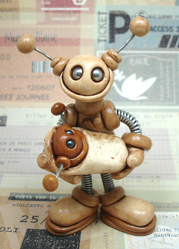 Robot Sculpture Mom and Baby Grungy Bot by HerArtSheLoves