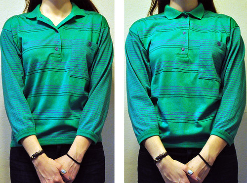 Vintage Kelly Green and Purple Polo Shirt size S-M