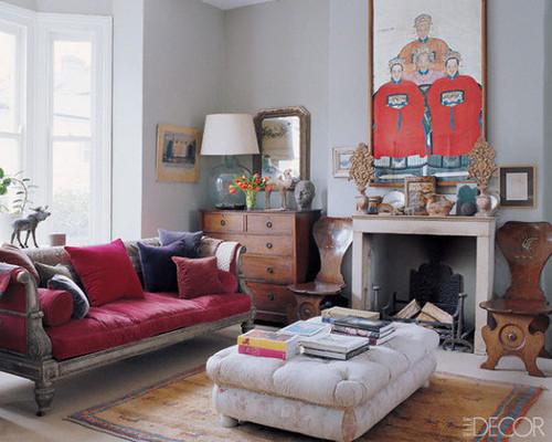 Elle Decor {eclectic living room}