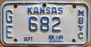 KANSAS 1987 ---MOTOR BICYCLE or MOPED PLATE