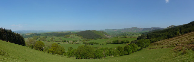 Panoramic view from the edge of the forest at Rhiw Goch