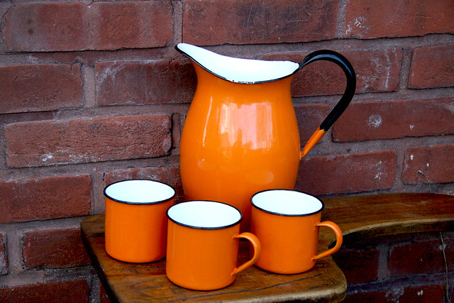 Orange Enamelware Pitcher with 3 Cups
