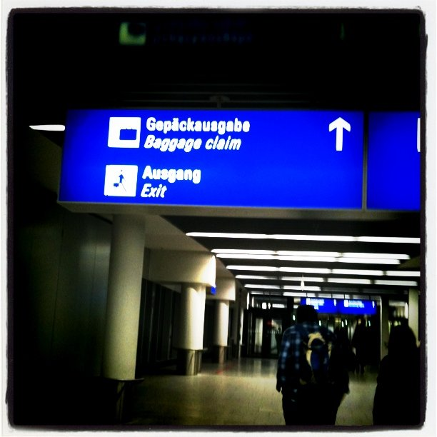 Gepaeckausgabe, baggage claim, signage, photo by Claus Wolf at FRA