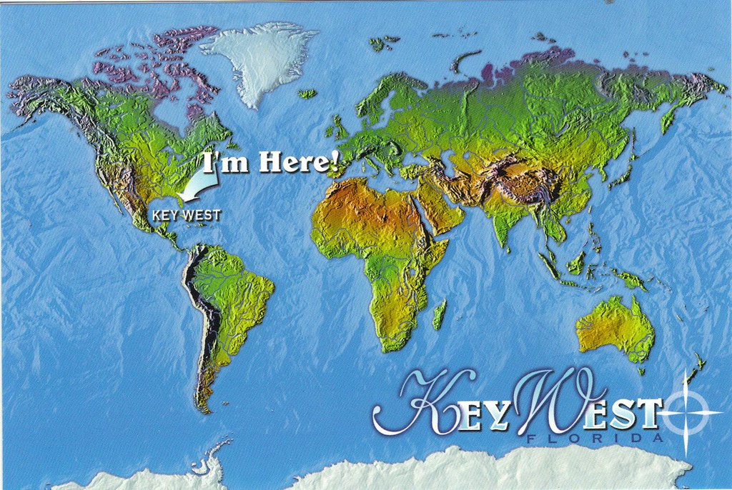 Key West Florida World Map Postcard  SPECIAL TRADES ONLY