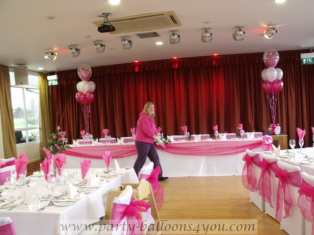 Hot pink wedding decorations Decorations done by Party Balloons 4 You who