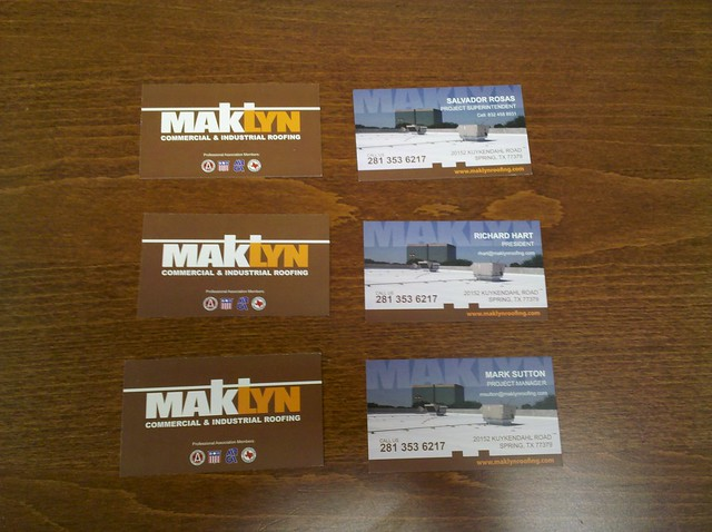Business Cards MakLyn Roofing pany in Houston TX