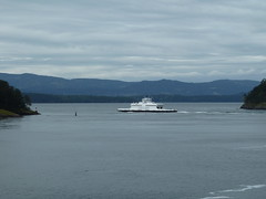 ferry, vehicle, sea, loch, lake, island, body of water, channel, inlet, passenger ship, coast, boat,