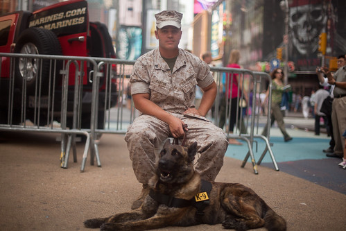 Andrew and Bandit: Marine and his dog perform at Marine Day Times Square - Fleet Week New York 2011