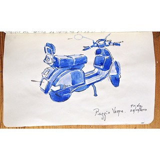 Fri 28 March's sketch of the day is a Piaggio Vespa outside the studio.
