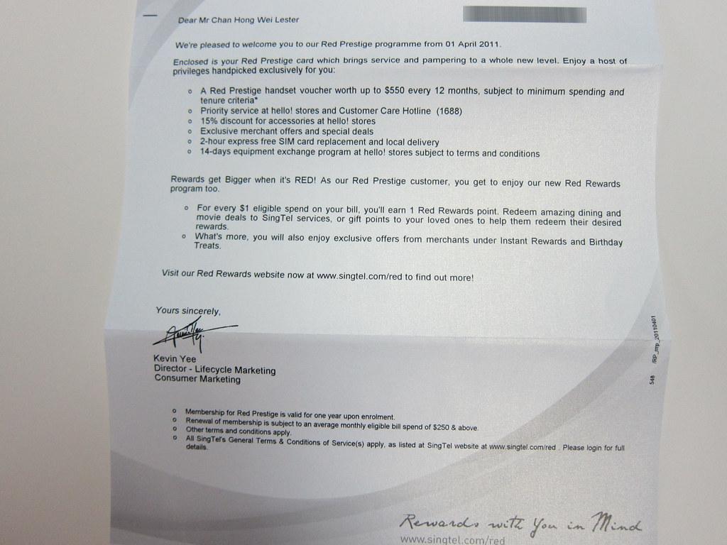 SingTel Red Prestige - Letter