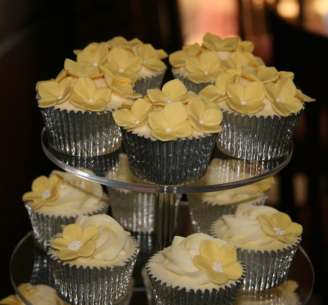 Yellow Wedding Cupcake Tower White chocolate mud cake cupcakes