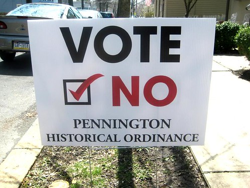 Yard sign calling for a no vote on historic preservation ordinance