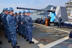 SASEBO, JAPAN (April 21, 2011) Cmdr. Chip Wrye, commanding officer of the Arleigh Burke-class guided-missile destroyer USS Lassen (DDG 82) addresses the crew during the ship's 10th Birthday celebration. (Photo by Information Systems Technician 1st Class Benjamin Wooldridge)