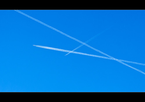 White lines and blue sky.