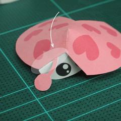 วิธีทำโมเดลกระดาษรูปเต่าทองแบบง่ายๆ (Easy Ladybug Papercraft Model) 007