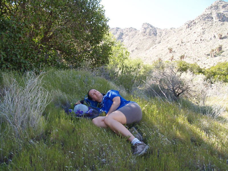 Vicki taking a rest in the shade, in the Valley of the Thousand Springs