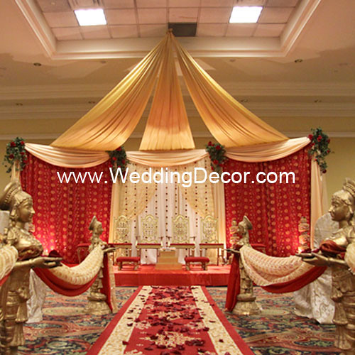 Red And Gold Wedding Decorations: Mandap - Red, Gold & Ivory