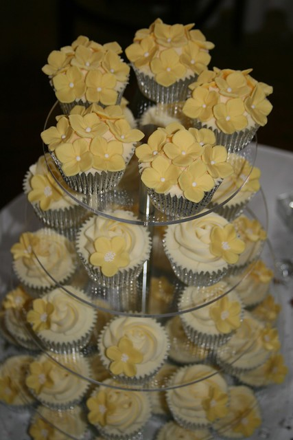 Yellow Wedding Cupcake Tower White chocolate mud cake cupcakes