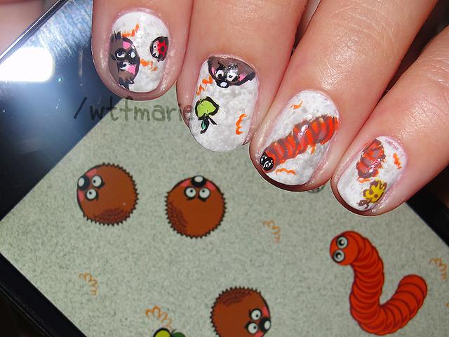 doodle nail art cute