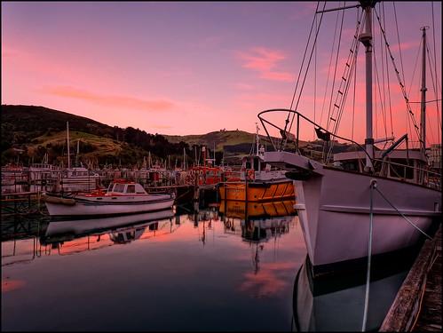new sunset sea sun dan clouds port landscape boat dock scenery glow dusk web zealand nz dunedin setting hdr chalmers goodwin moored fz38 fz35 pommedan