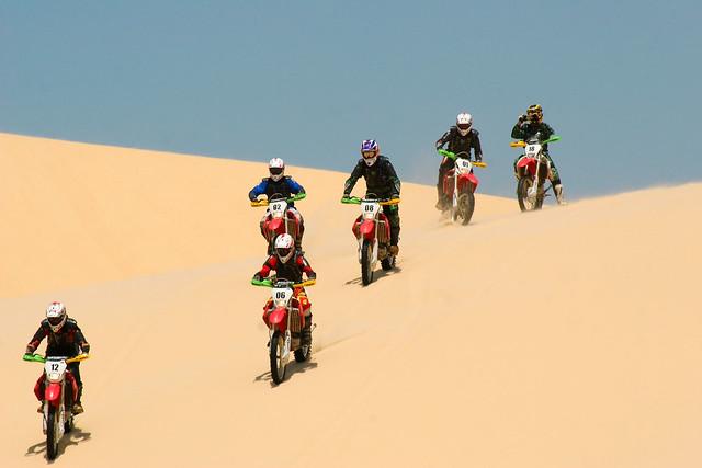 Motorcross in  the sand dunes of Lencois Maharenses National Parkin, Northern Brazil.