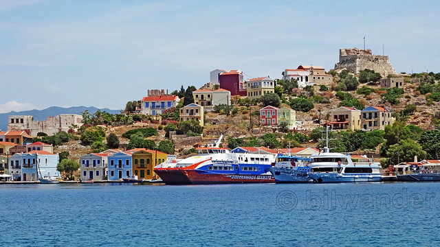 Greece, South Aegean Sea, ferries at Kastellorizo, view while exiting the harbor enroute to Blue Cave