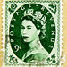 beautiful stamp wilding GB 9D 9d (9p pence) pre decimal green queen QEII elisabeth royal pence penny elizabeth england uk great britain united kingdom postage revenue porto timbre bollo sello marke briefmarke stamp Windsor