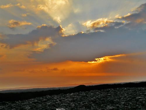 blue sunset orange hawaii lava bigisland oceanview