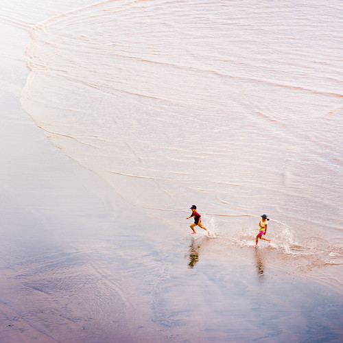 running, children, in the sea, kids,