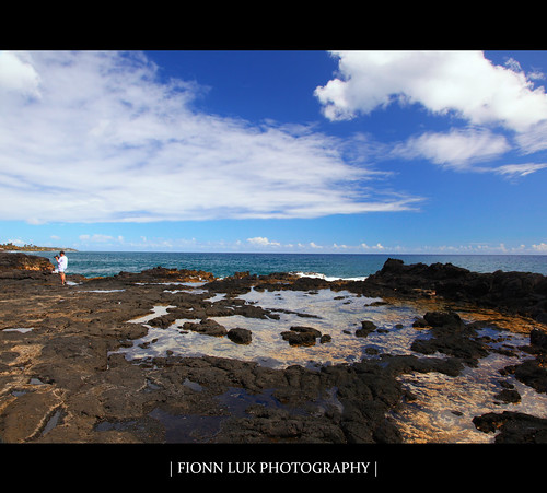 ocean trip blue summer vacation sky usa water beautiful clouds canon landscape island hawaii us rocks view unitedstates united horizon scene september kauai spoutinghorn 5d states horn luk spouting fionn