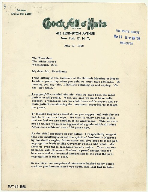 Letter from Jackie Robinson to President Eisenhower of May 13, 1958