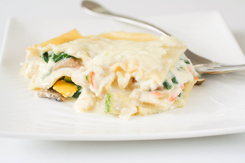 Vegetable Lasagna with Lemon Garlic Sauce