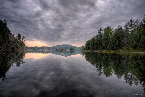 sunset lake reflection geocaching canoe killarney portage hdr georgelake killarneyprovincialpark gch2aw thisiswhyigeocache gca2e0