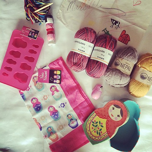 Special #birthday care package #gift for my #knitter friend who collects #dolls. I think I succeeded in being thoughtful. Such fun to put this together for her!