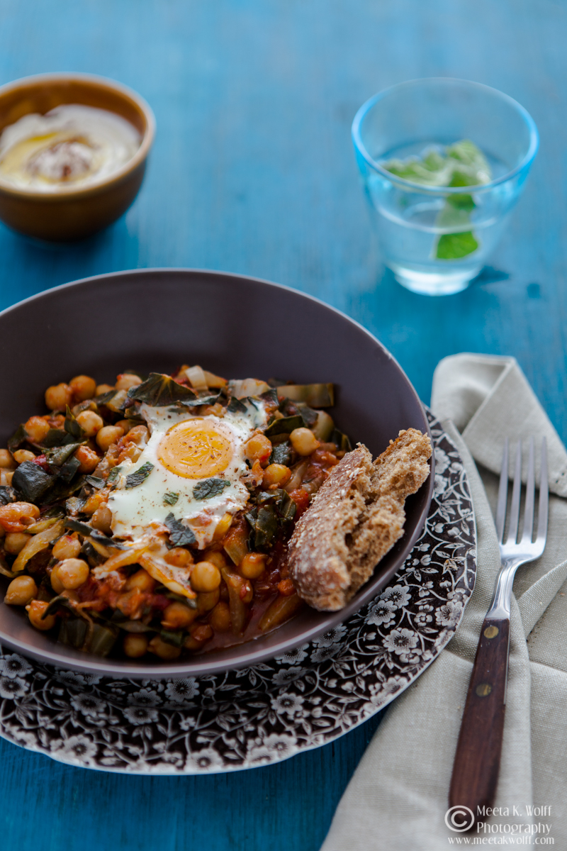 Baked Spiced Chickpeas and Chard with Eggs-0190