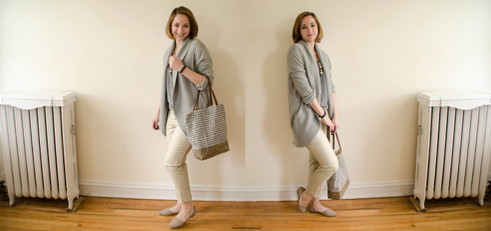 may outfit, gold pants, boden pants, cropped pants, big cardigan, neutral wardrobe, outfit ideas