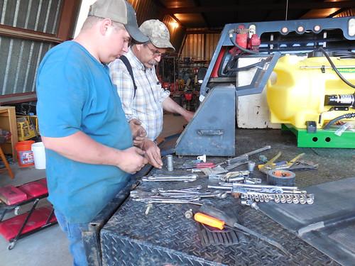 Matt and Dad sorting tools