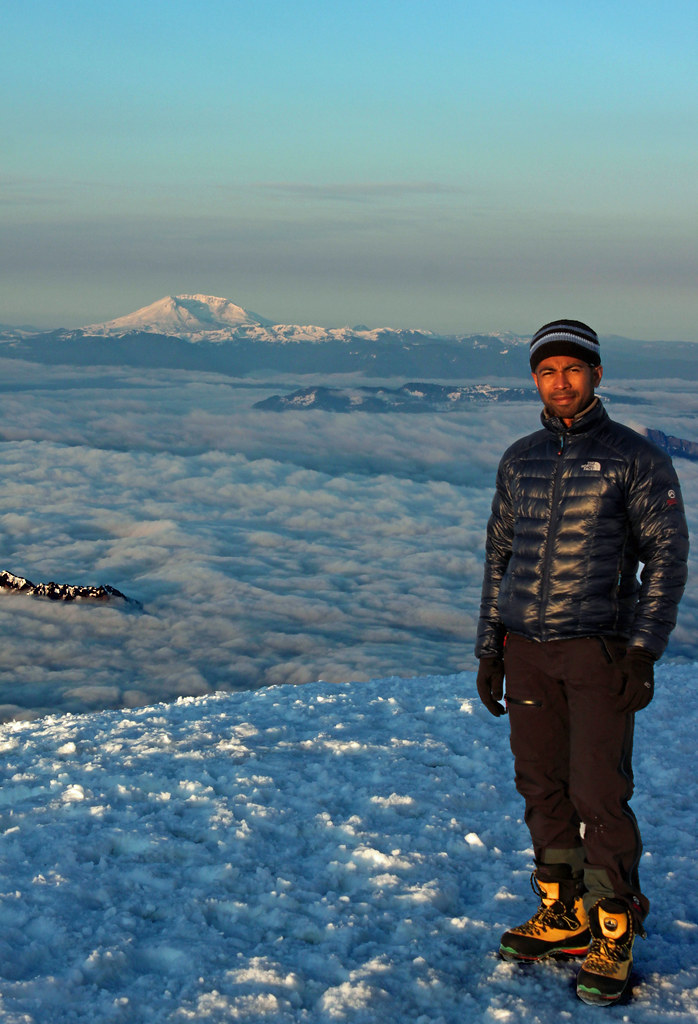 Posing with Mount Saint Helens to the south