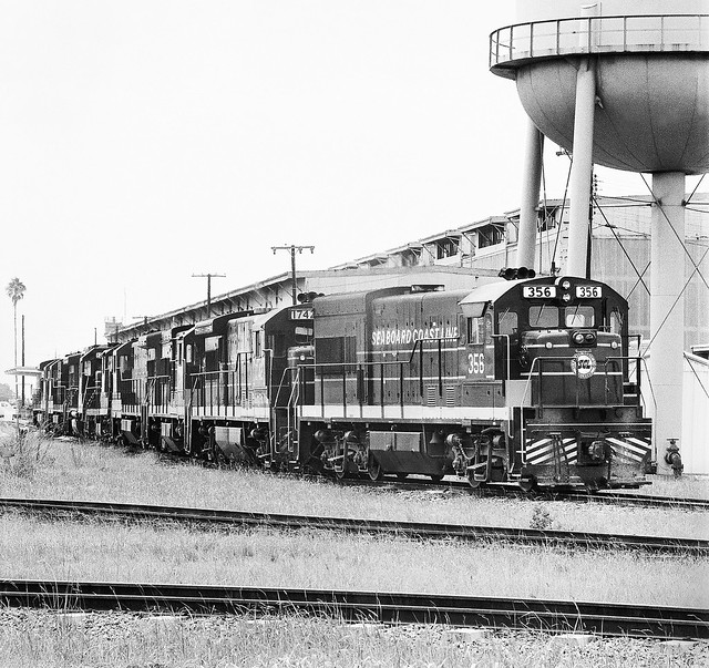 SCL locomotives situated along side the Uceta Railroad Shop in Tampa, Florida, mid 1970's Post