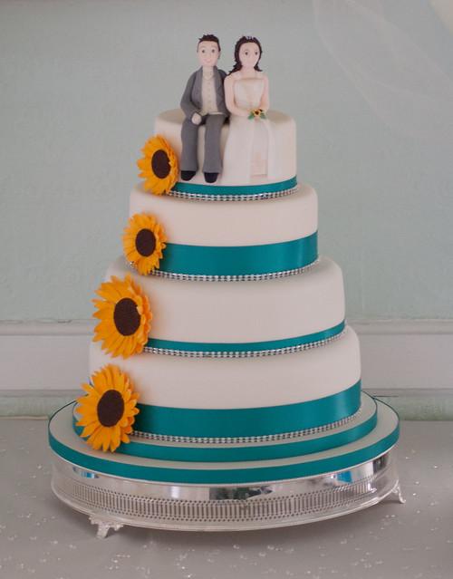 Sunflowers Wedding Cake Handmade sugar sunflowers with diamonte trim