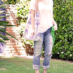 eclectic jeans and white t - side ponytail