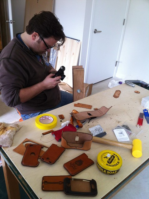 Andy Making Lasercut Leather iPhone and Camera Cases