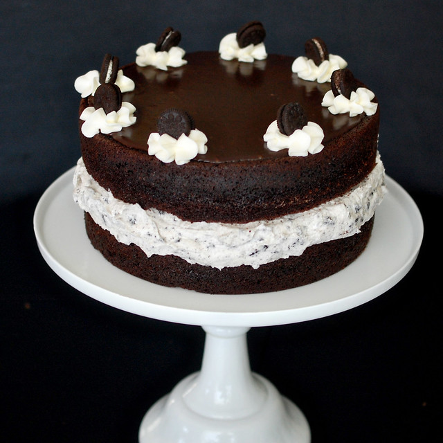 cake: moist chocolate cake, oreo frosting filling, chocolate ganache ...