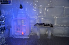 ice hotel, light, ice, blue,