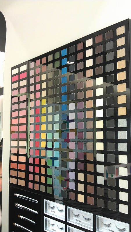 Shu Uemura color palette wall at Trinoma